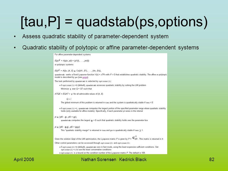 [tau,P] = quadstab(ps,options)